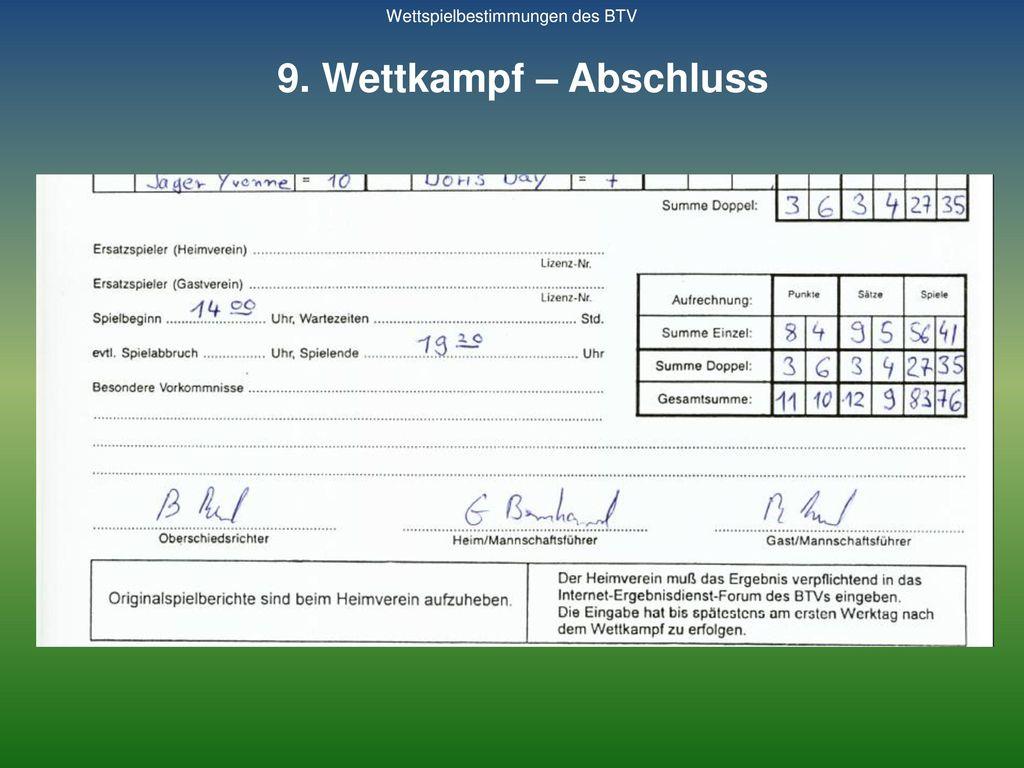 9. Wettkampf – Abschluss Wettspielbestimmungen des BTV