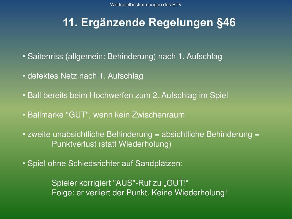 11. Ergänzende Regelungen §46