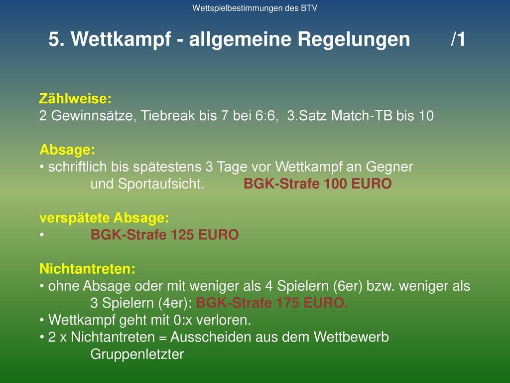 5. Wettkampf - allgemeine Regelungen /1