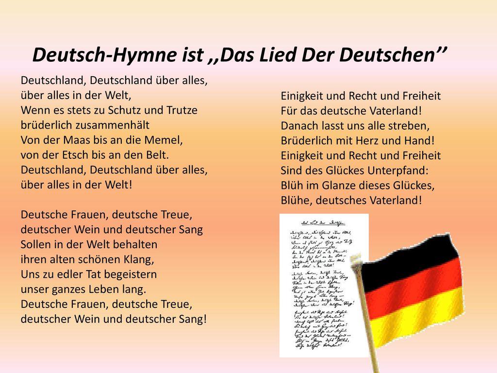 Deutsch-Hymne ist ,,Das Lied Der Deutschen''