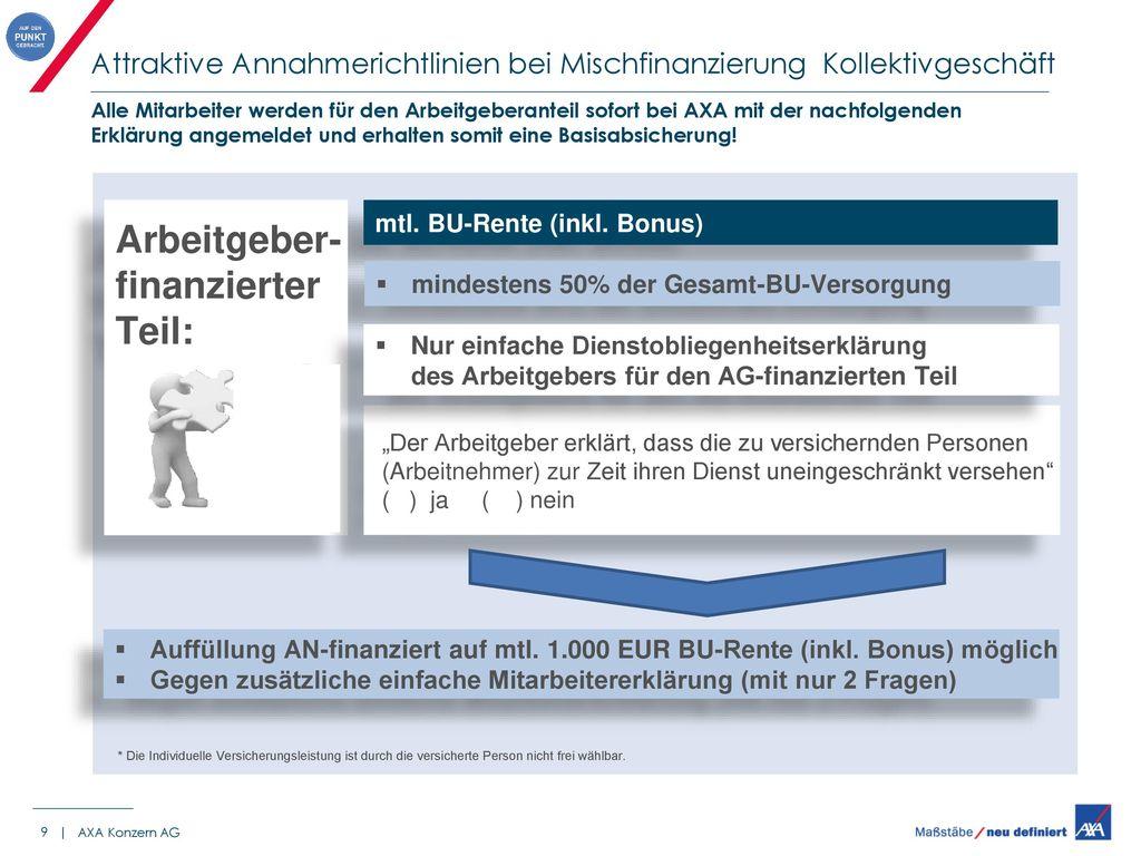 Attraktive Annahmerichtlinien bei Mischfinanzierung Kollektivgeschäft