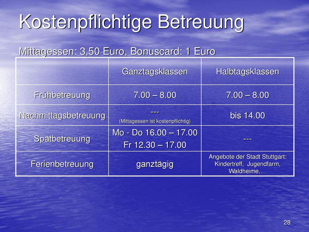 Kostenpflichtige Betreuung Mittagessen: 3,50 Euro, Bonuscard: 1 Euro