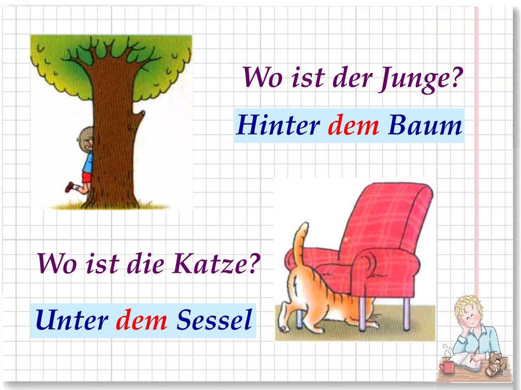Wo ist der Junge За деревом Hinter dem Baum Wo ist die Katze Под креслом Unter dem Sessel
