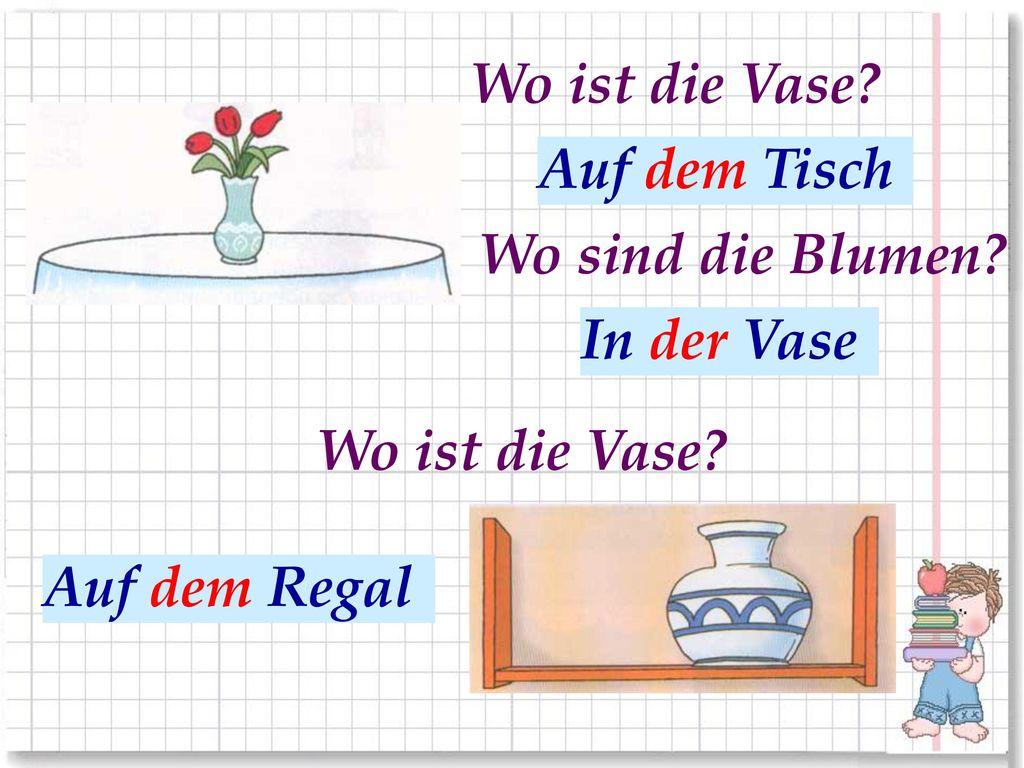 Wo ist die Vase Auf dem Tisch. На столе. Wo sind die Blumen В вазе. In der Vase. Wo ist die Vase