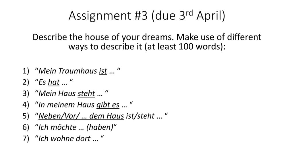 Assignment #3 (due 3rd April)
