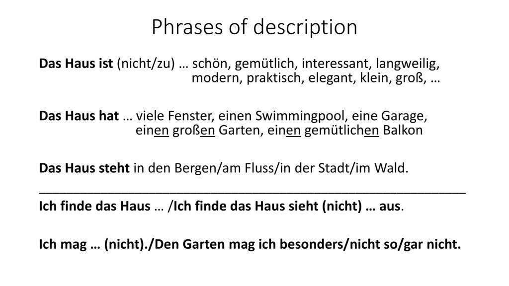 Phrases of description