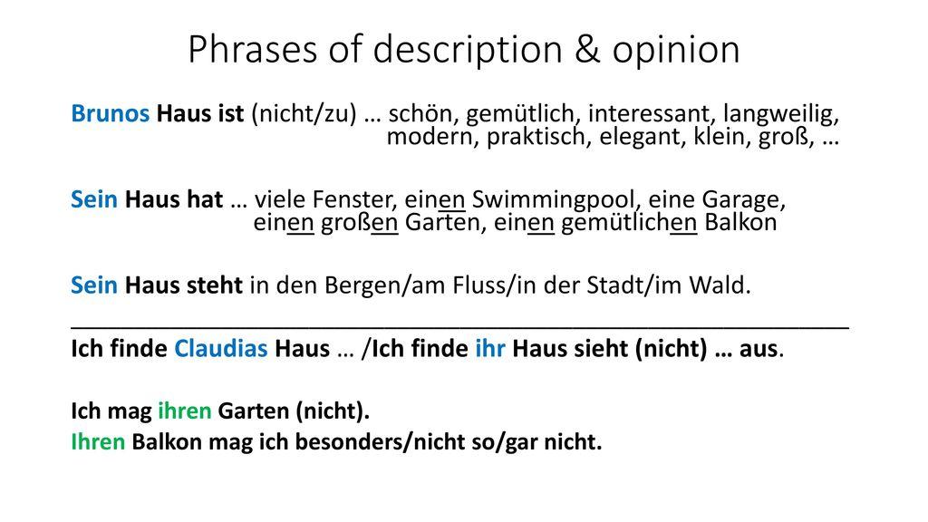Phrases of description & opinion