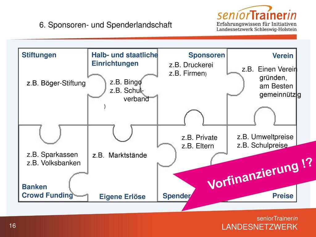 Vorfinanzierung ! 6. Sponsoren- und Spenderlandschaft Stiftungen