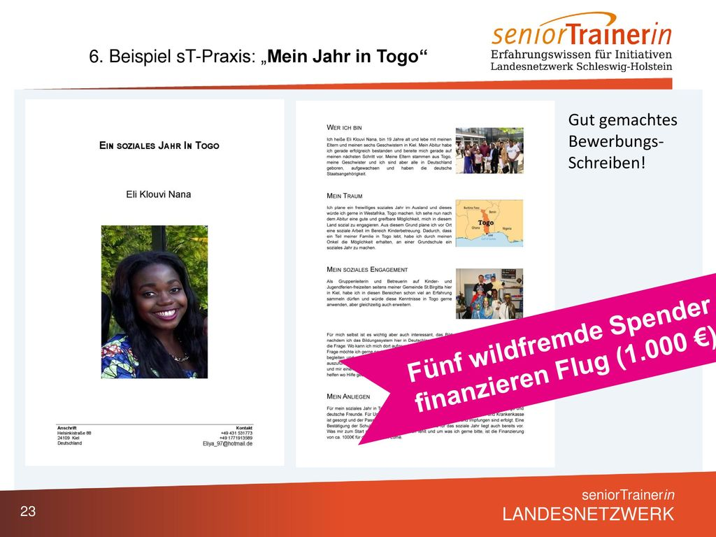 Fünf wildfremde Spender finanzieren Flug (1.000 €)