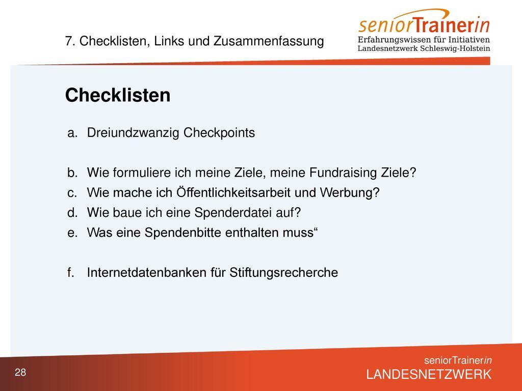 Checklisten 7. Checklisten, Links und Zusammenfassung