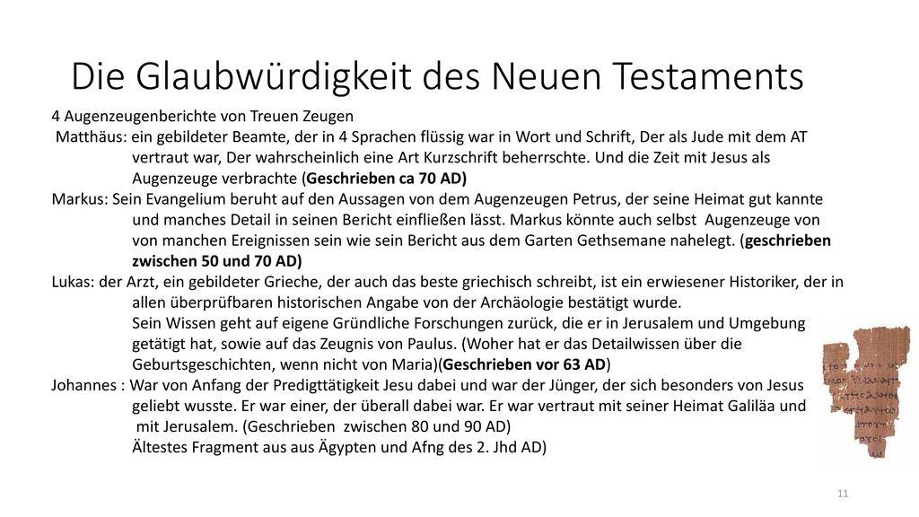 Die Glaubwürdigkeit des Neuen Testaments
