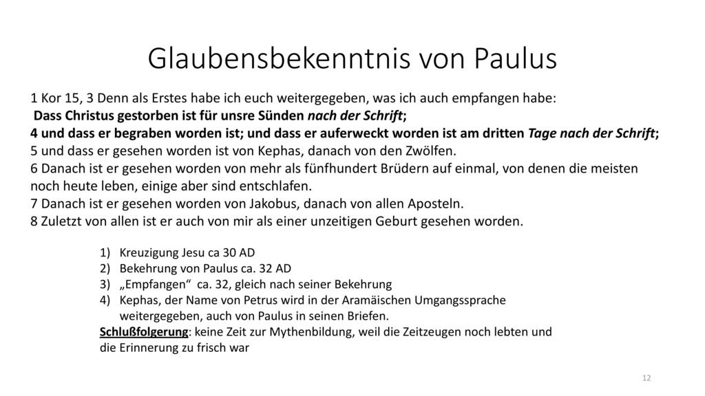 Glaubensbekenntnis von Paulus