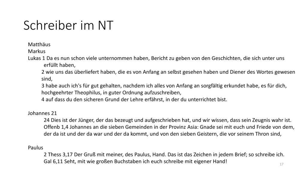 Schreiber im NT Matthäus Markus