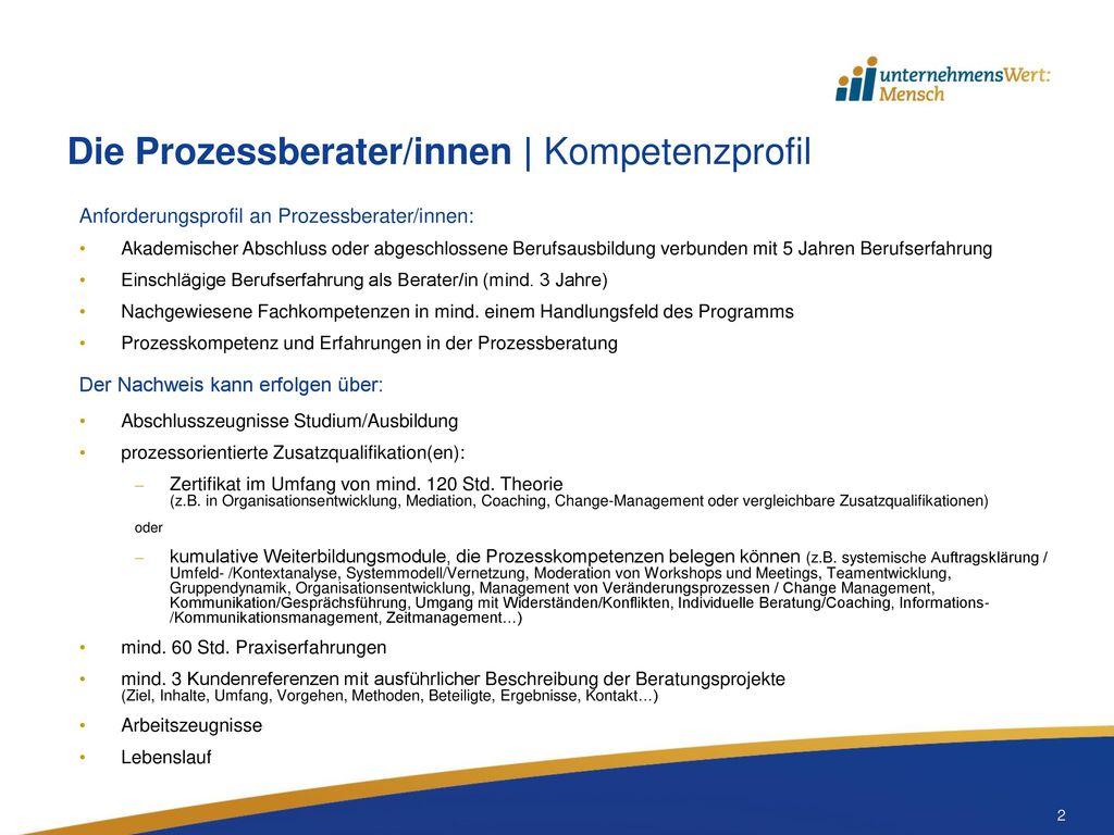 Die Prozessberater/innen   Kompetenzprofil