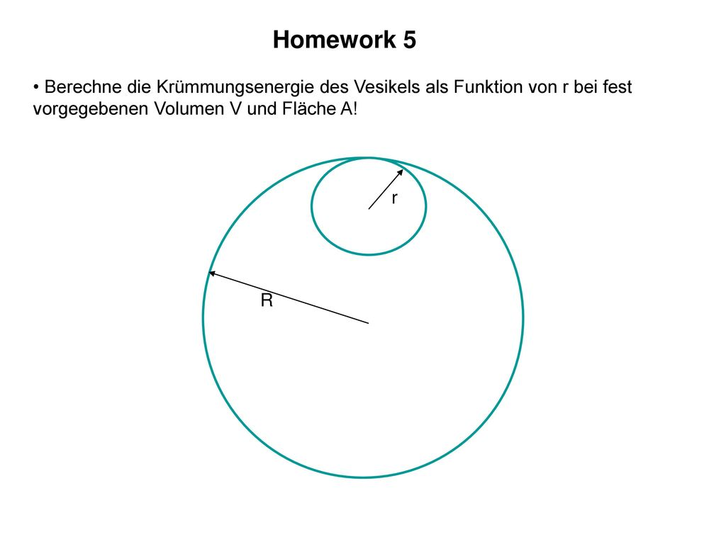 Homework 5 Berechne die Krümmungsenergie des Vesikels als Funktion von r bei fest vorgegebenen Volumen V und Fläche A!