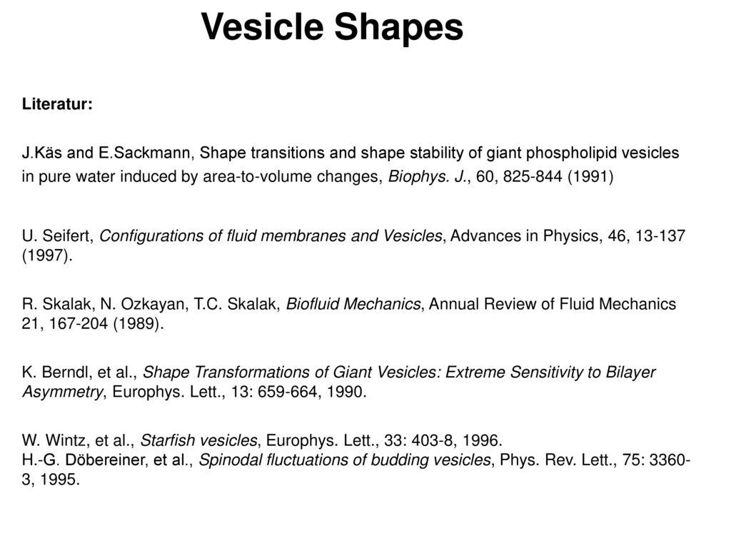 Vesicle Shapes Literatur: