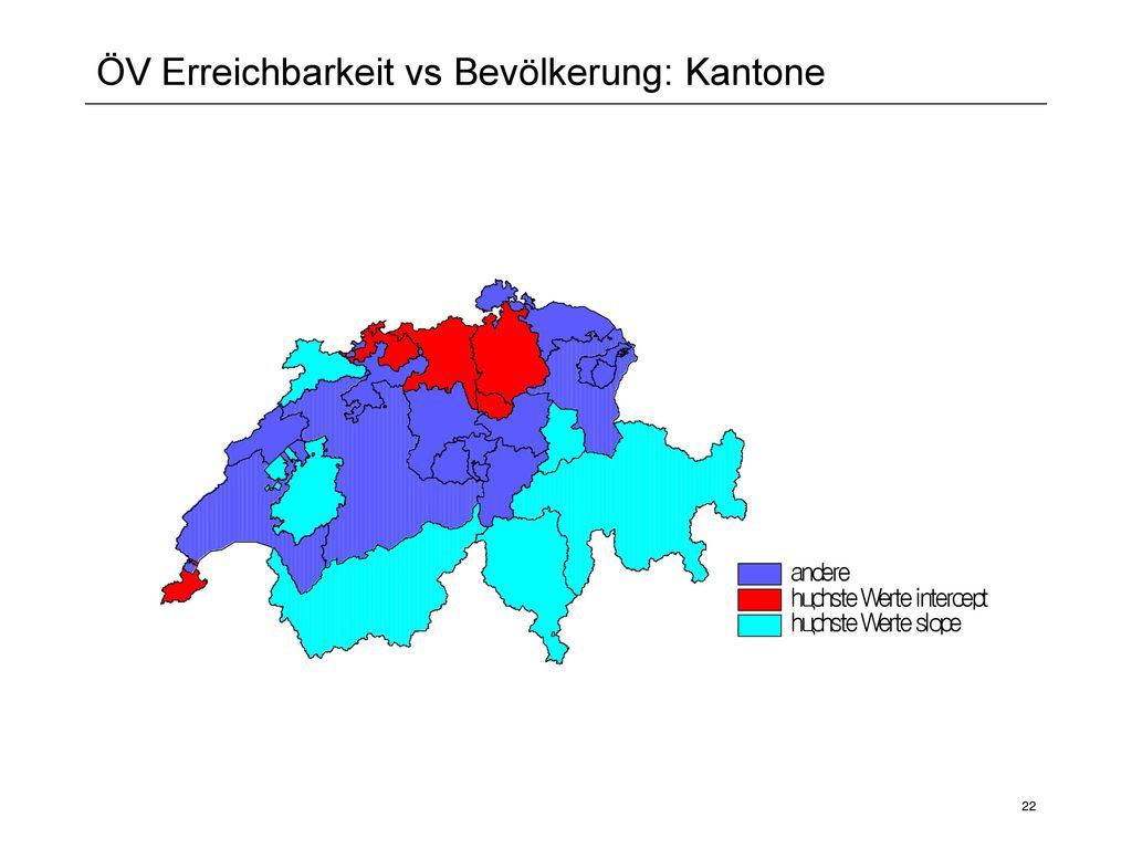 ÖV Erreichbarkeit vs Bevölkerung: Kantone