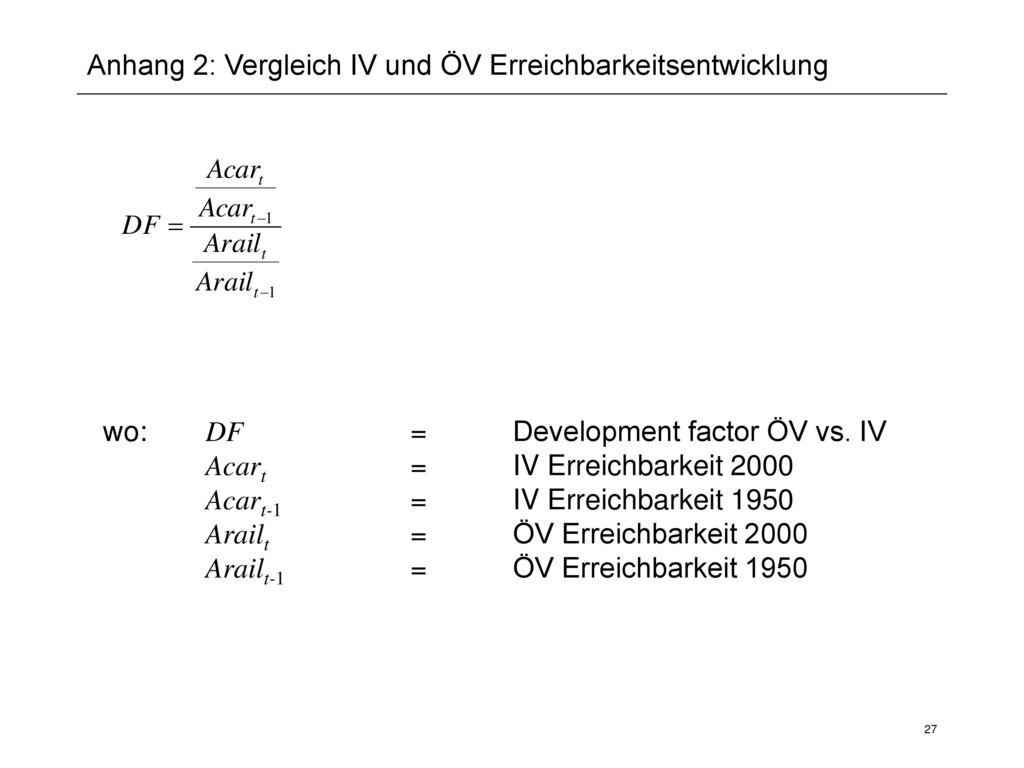 Anhang 2: Vergleich IV und ÖV Erreichbarkeitsentwicklung