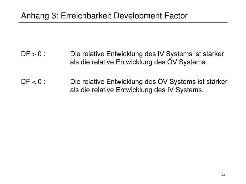 Anhang 3: Erreichbarkeit Development Factor
