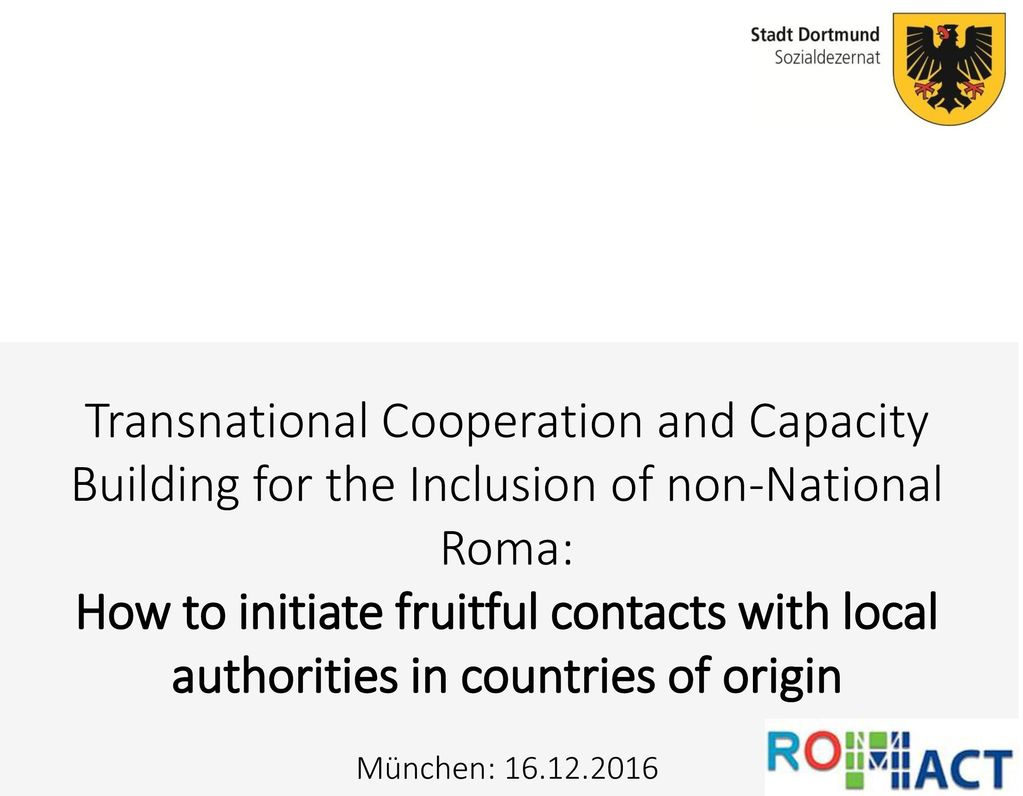 Transnational Cooperation and Capacity Building for the Inclusion of non-National Roma: