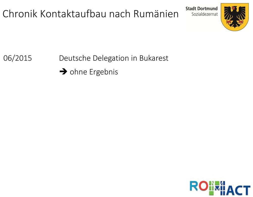 Chronik Kontaktaufbau nach Rumänien
