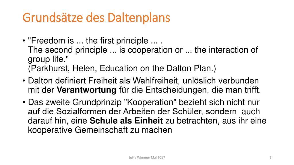 Grundsätze des Daltenplans