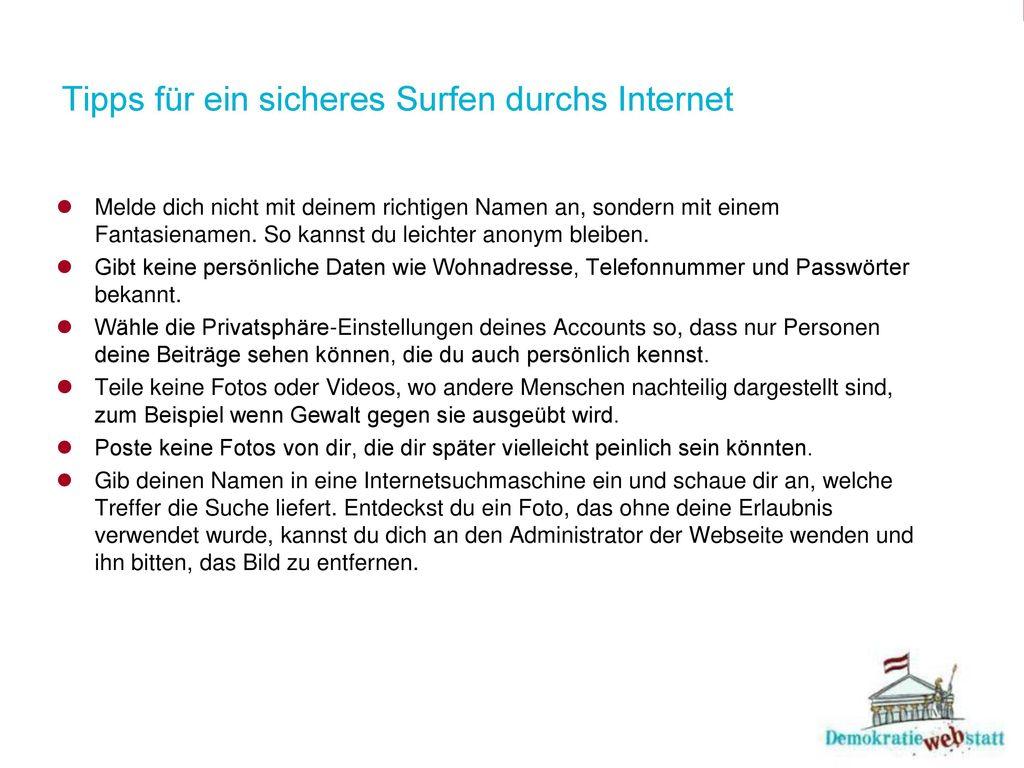 Tipps für ein sicheres Surfen durchs Internet