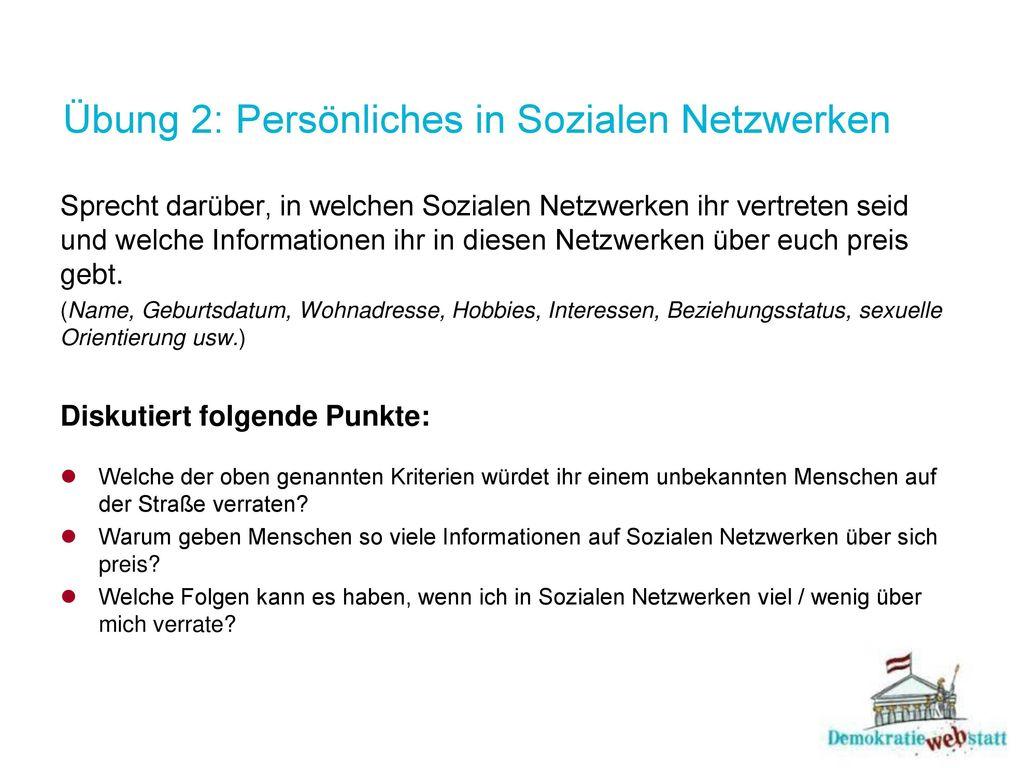 Übung 2: Persönliches in Sozialen Netzwerken