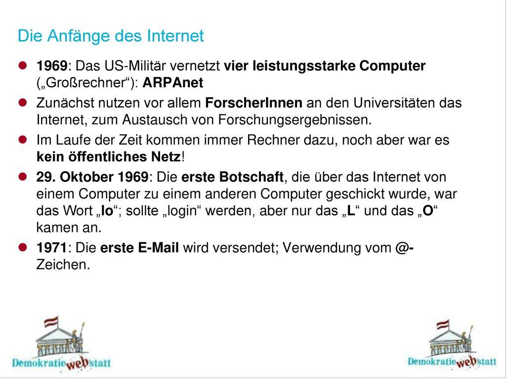 Die Anfänge des Internet