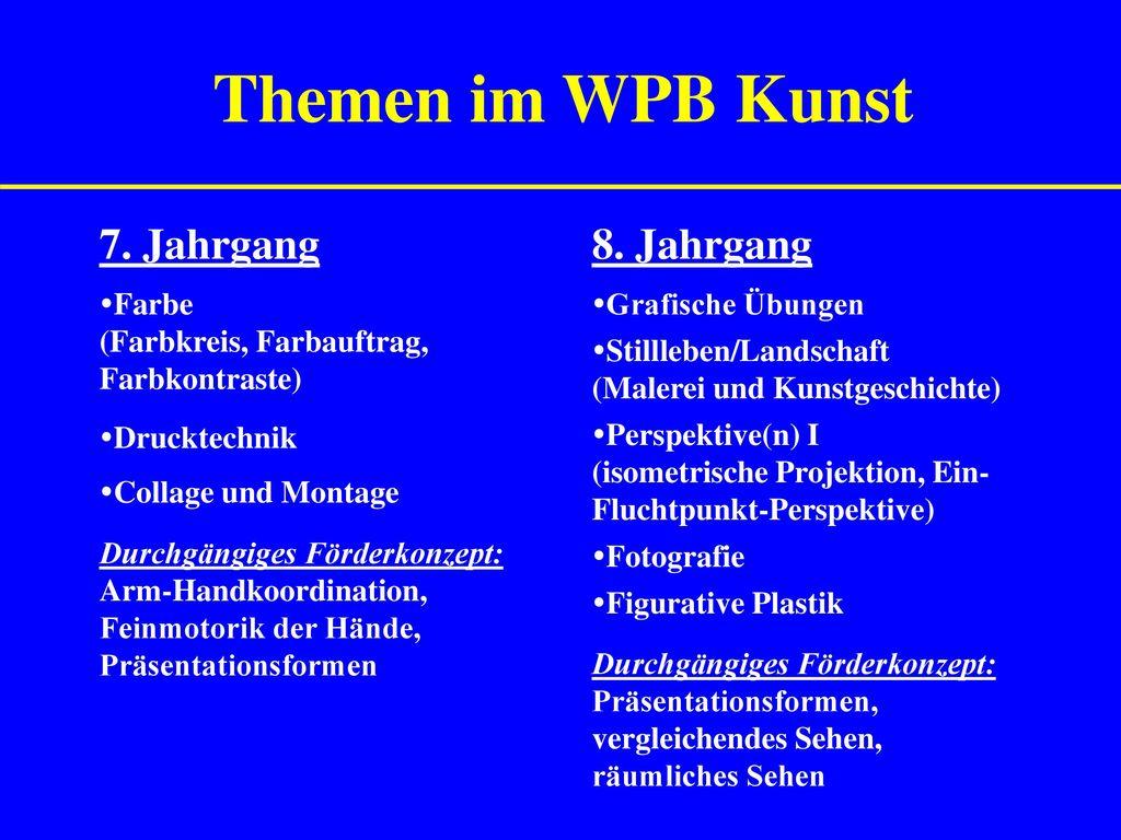 Themen im WPB Kunst 7. Jahrgang 8. Jahrgang