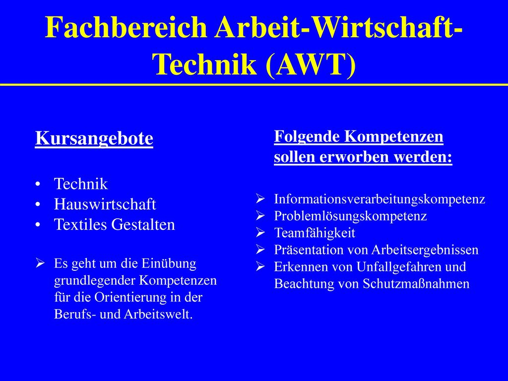 Fachbereich Arbeit-Wirtschaft-Technik (AWT)