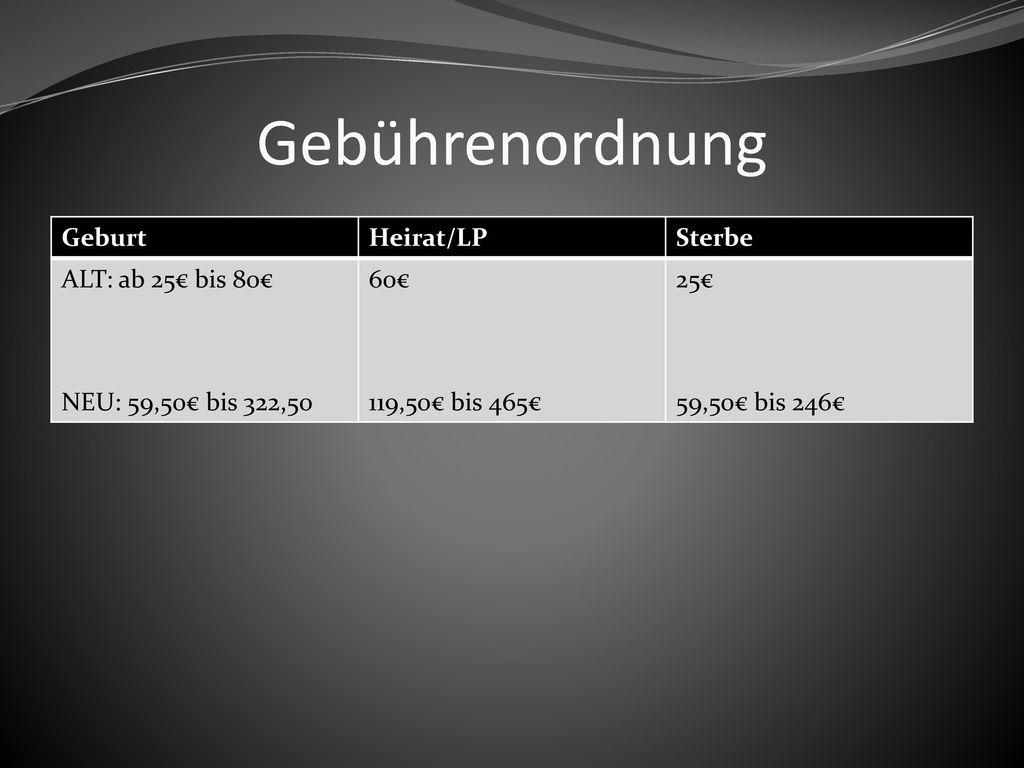 Gebührenordnung Geburt Heirat/LP Sterbe ALT: ab 25€ bis 80€
