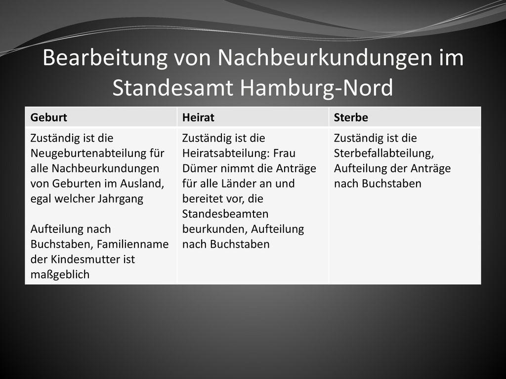 Bearbeitung von Nachbeurkundungen im Standesamt Hamburg-Nord
