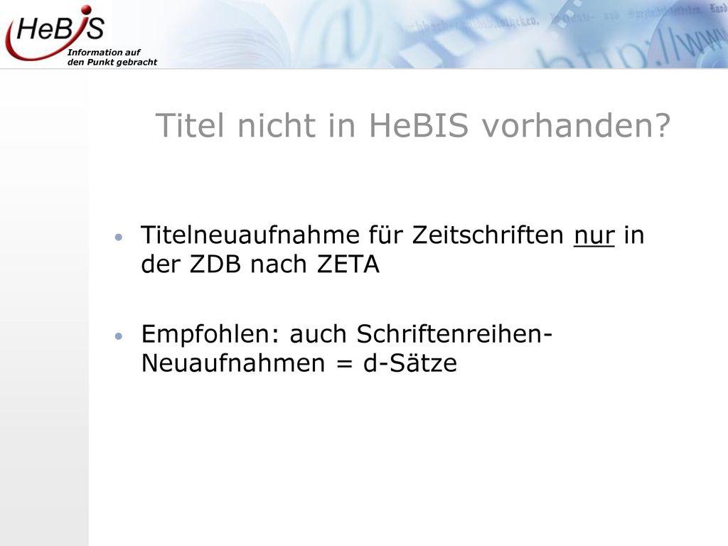 Titel nicht in HeBIS vorhanden