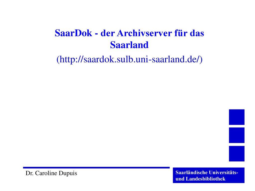 SaarDok - der Archivserver für das Saarland