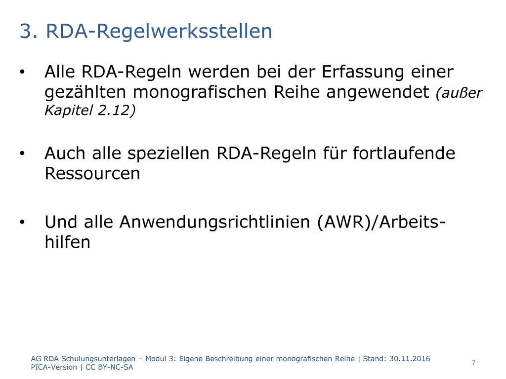 3. RDA-Regelwerksstellen
