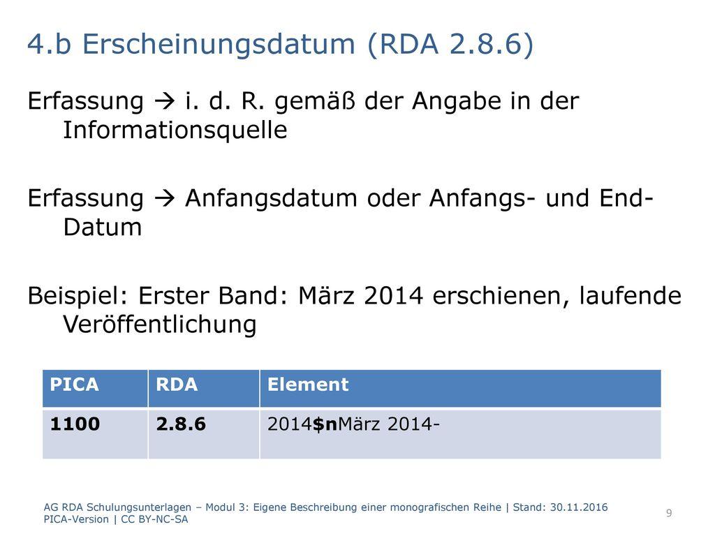 4.b Erscheinungsdatum (RDA 2.8.6)