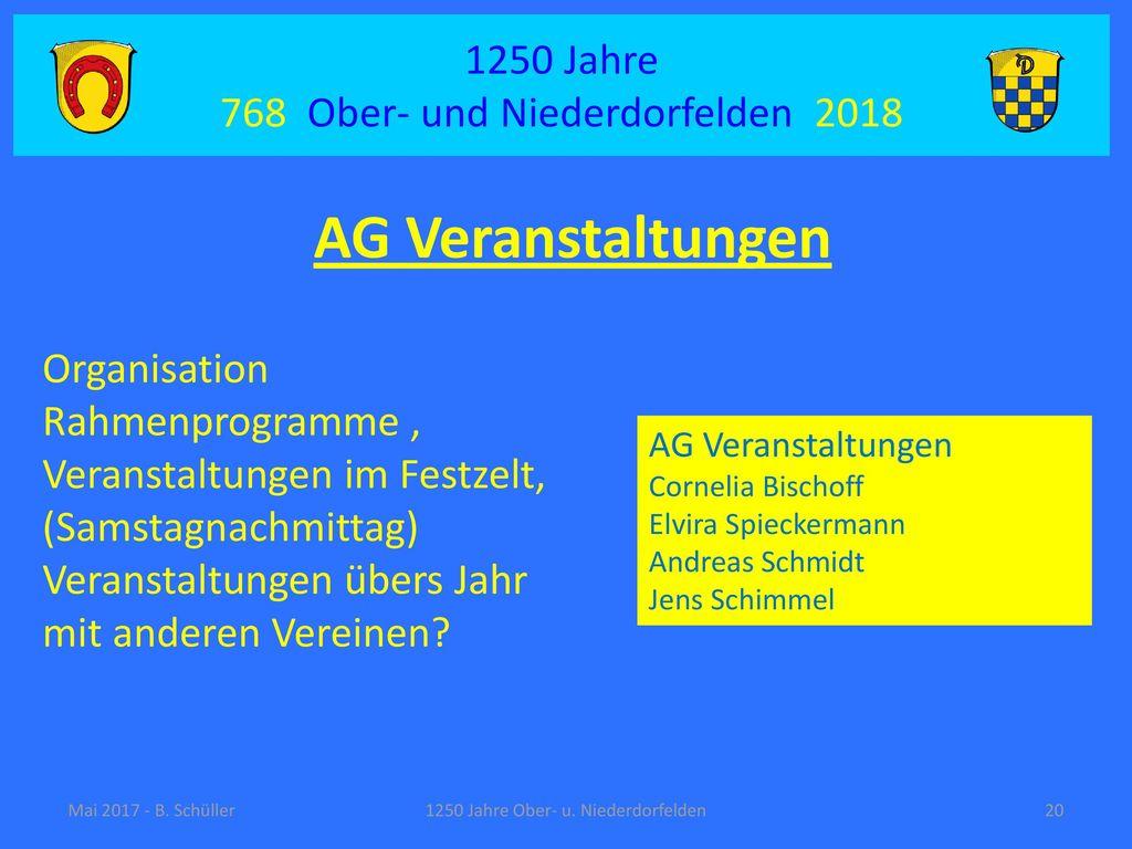 AG Veranstaltungen 1250 Jahre 768 Ober- und Niederdorfelden 2018