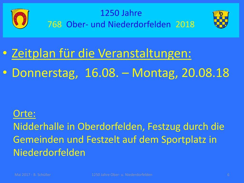 Zeitplan für die Veranstaltungen: