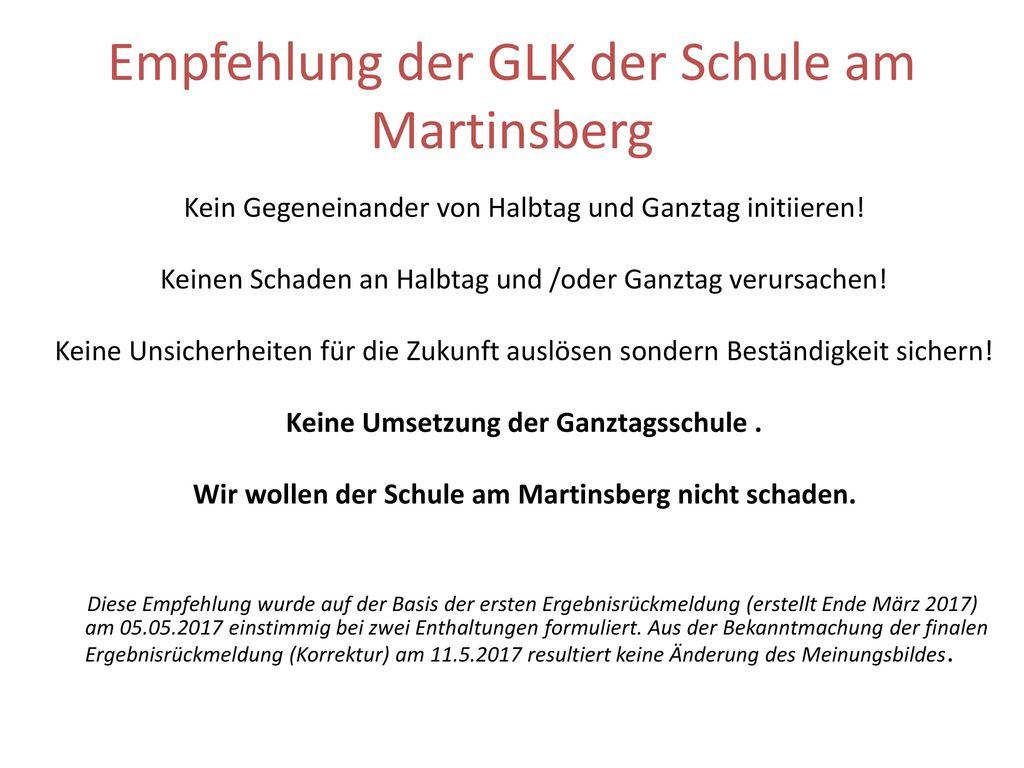 Empfehlung der GLK der Schule am Martinsberg