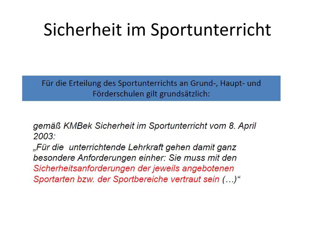 Sicherheit im Sportunterricht