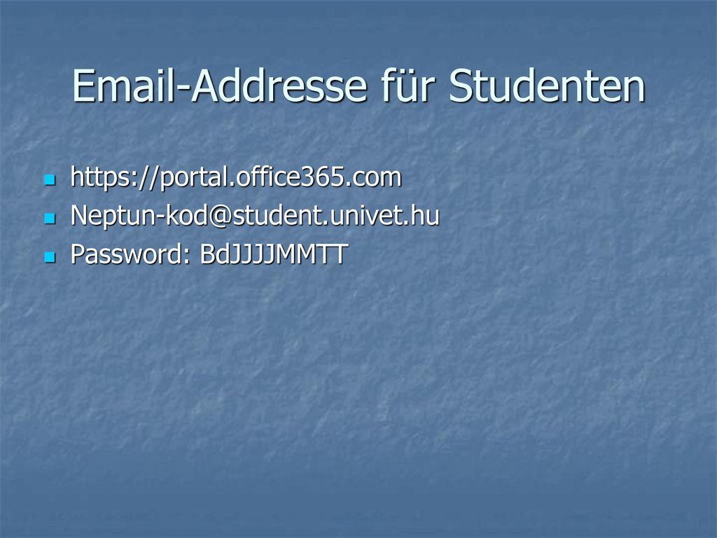 Email-Addresse für Studenten