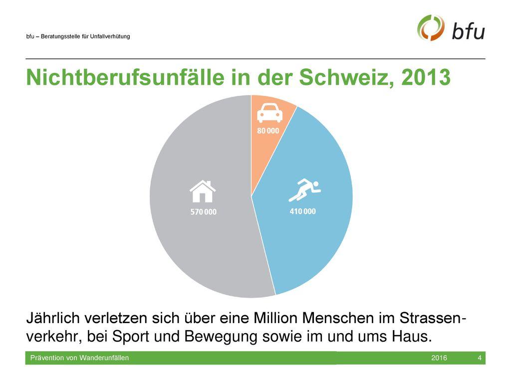 Nichtberufsunfälle in der Schweiz, 2013