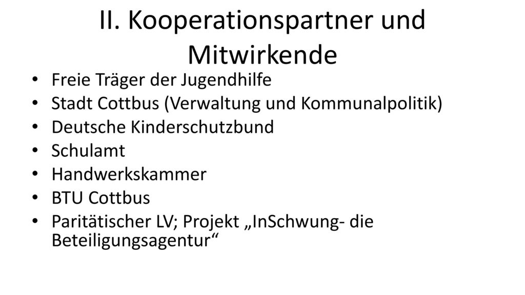 II. Kooperationspartner und Mitwirkende