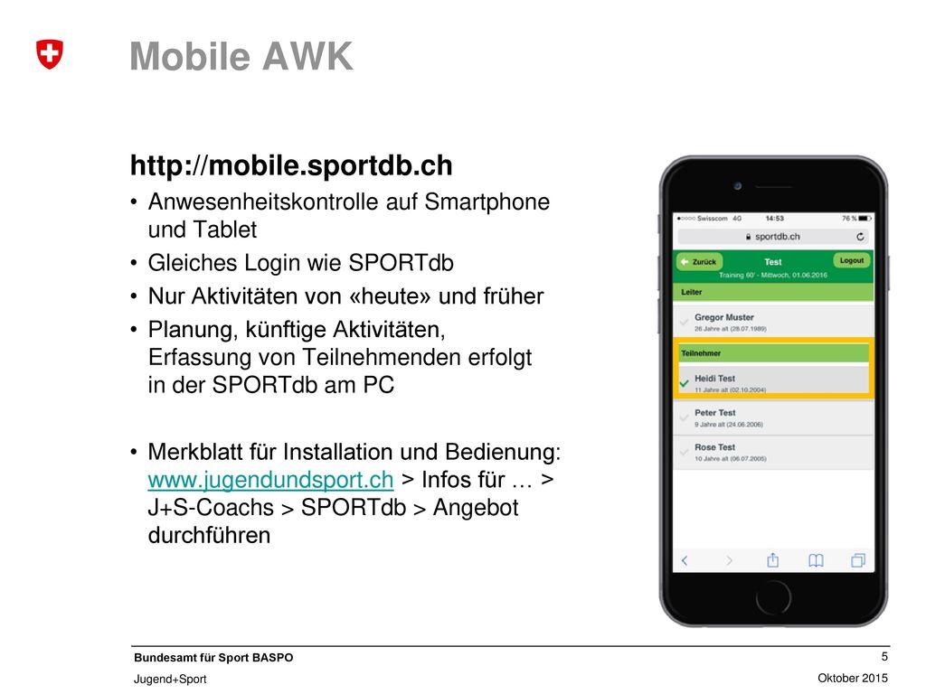 Mobile AWK http://mobile.sportdb.ch