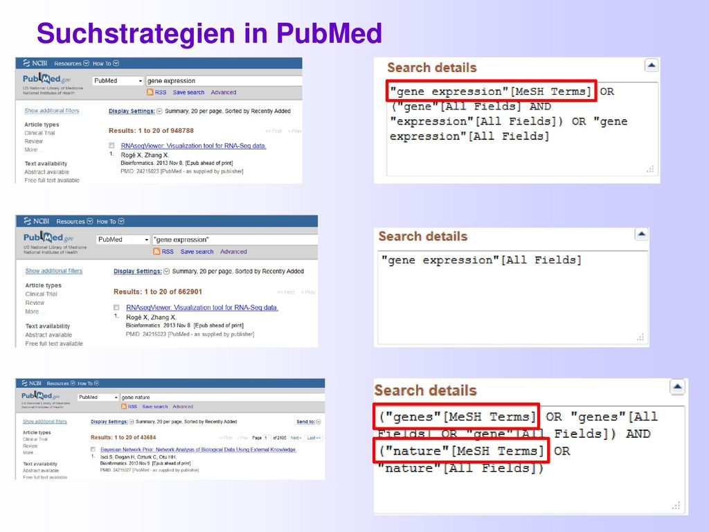 Suchstrategien in PubMed