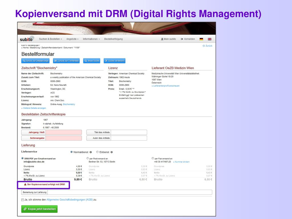 Kopienversand mit DRM (Digital Rights Management)