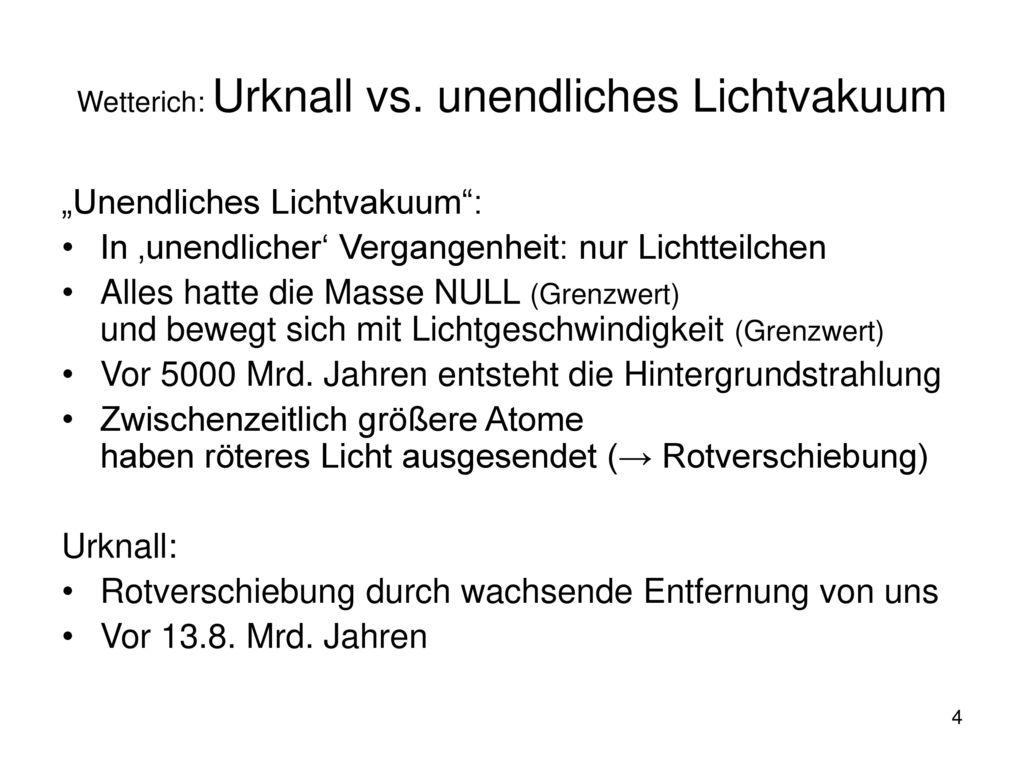 Wetterich: Urknall vs. unendliches Lichtvakuum