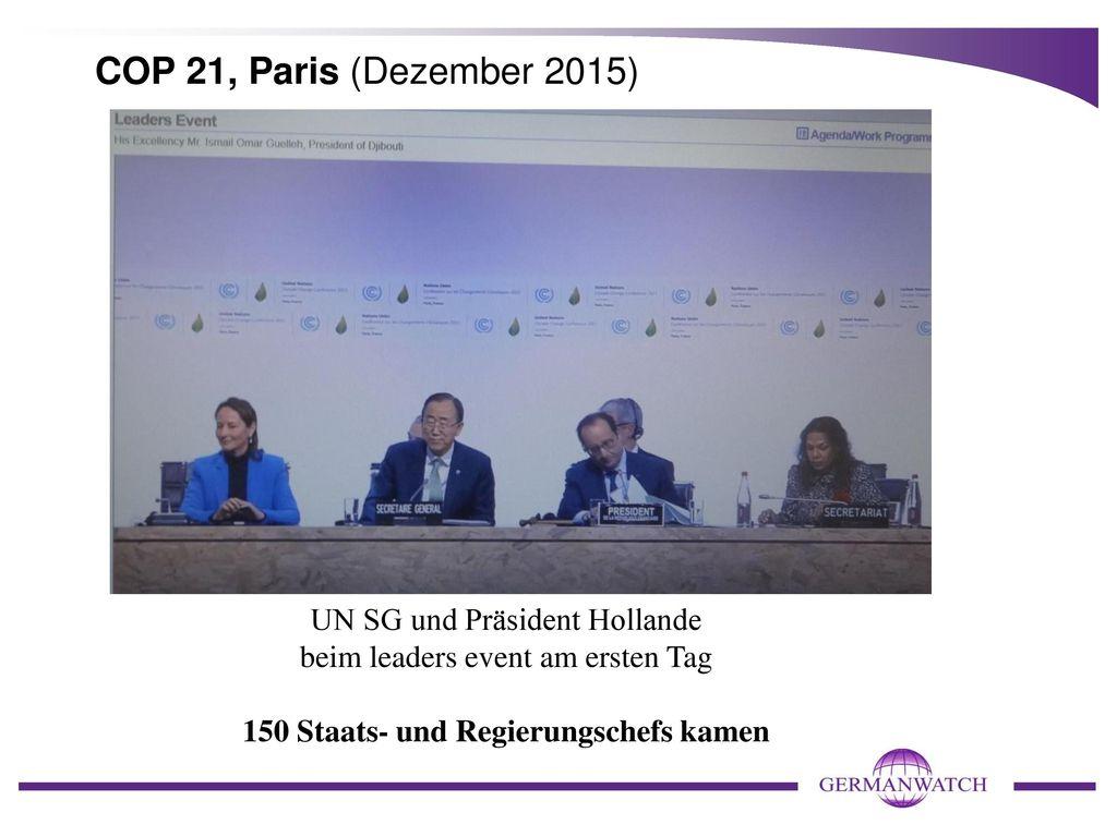 COP 21, Paris (Dezember 2015) UN SG und Präsident Hollande beim leaders event am ersten Tag 150 Staats- und Regierungschefs kamen.