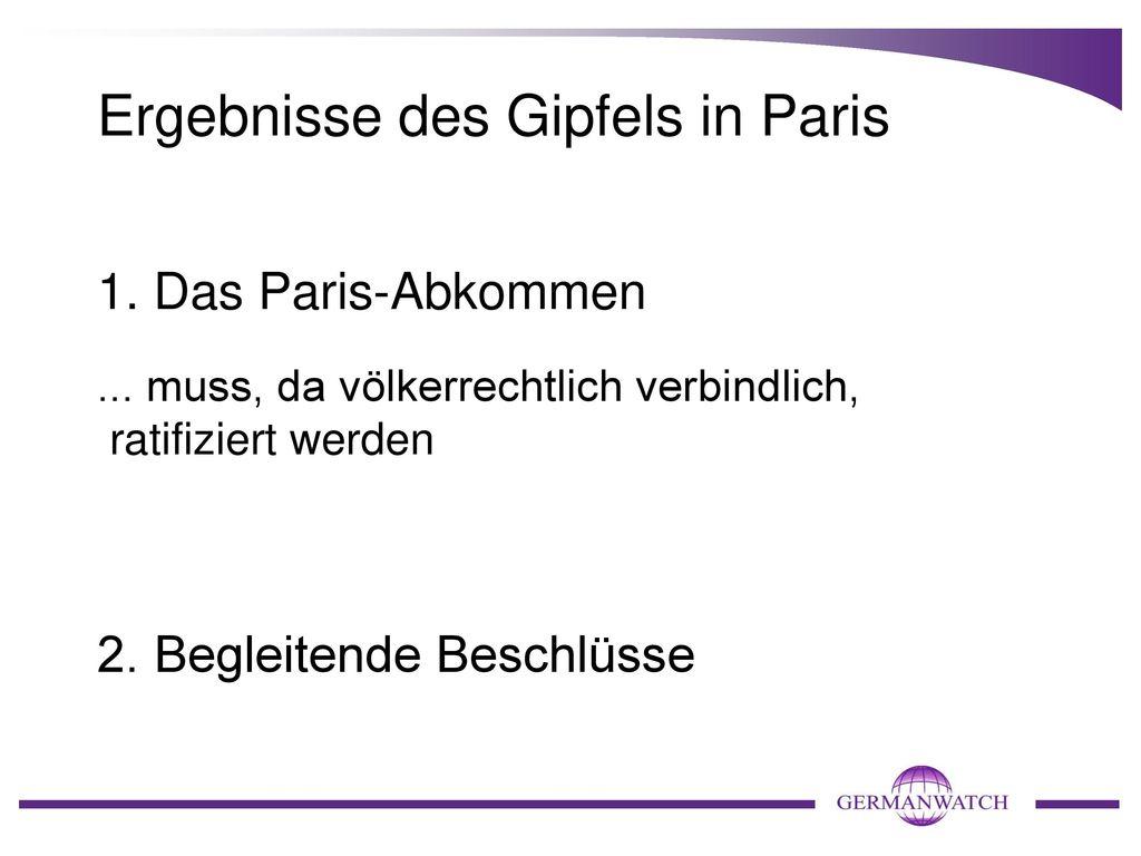 Ergebnisse des Gipfels in Paris